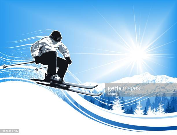 skier with sun and mountains - alpine skiing stock illustrations