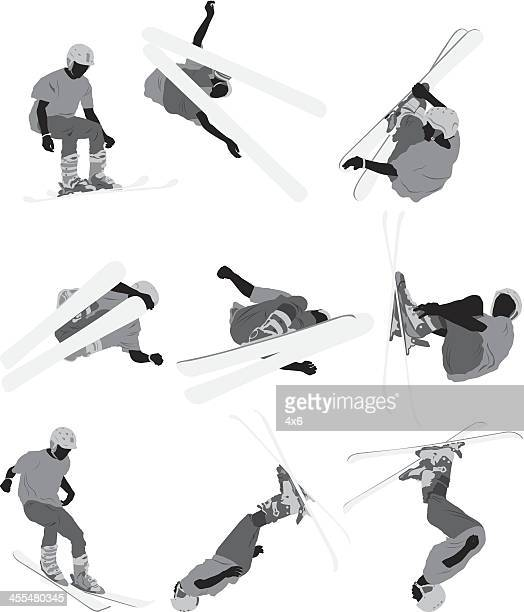 skiers in action - motorcycle helmet isolated stock illustrations, clip art, cartoons, & icons