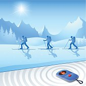 Skiers with Avalanches-Transceiver for more safety
