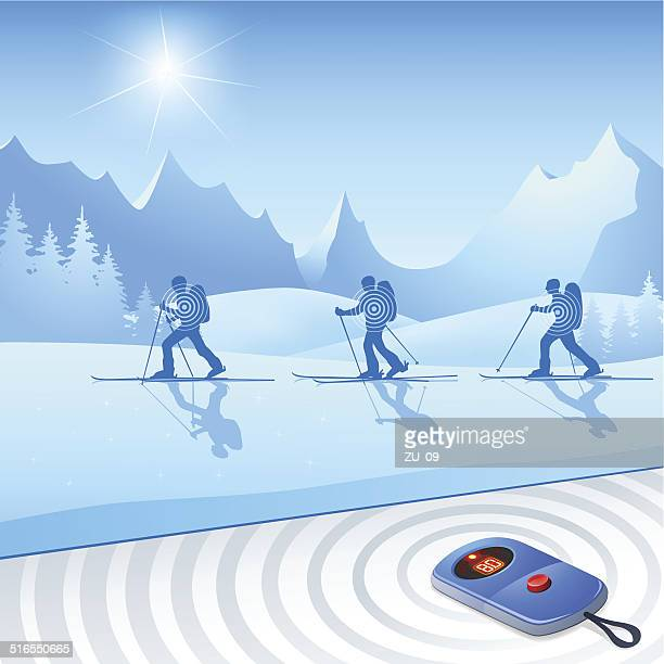 skiers with avalanches-transceiver for more safety - racewalking stock illustrations, clip art, cartoons, & icons