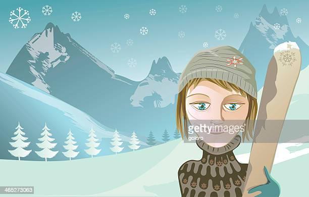 illustrations, cliparts, dessins animés et icônes de ski-fille - ski humour