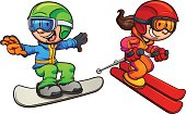 Skiing and snowboarding kids