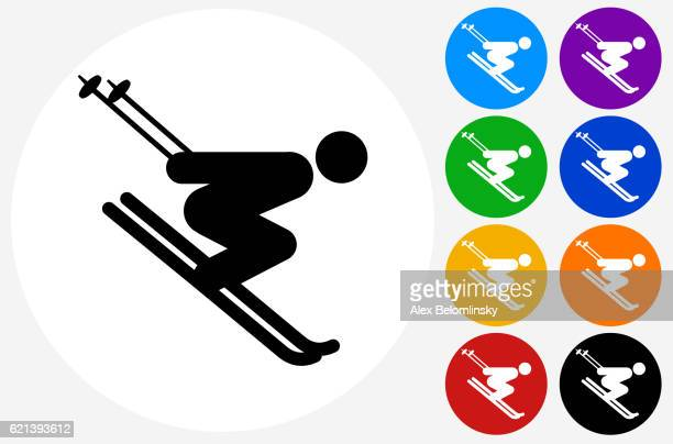 Skiing Downhill Icon on Flat Color Circle Buttons