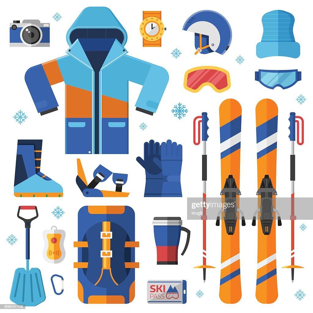 Skiing Equipment Set