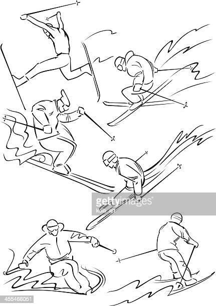 skiing figures 2 - ski goggles stock illustrations, clip art, cartoons, & icons
