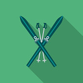 Skiing Flat Design Winter Icon with Side Shadow