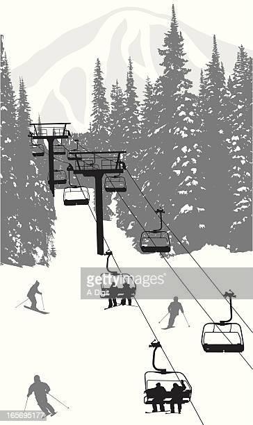 skiing hills vector silhouette - ski slope stock illustrations, clip art, cartoons, & icons