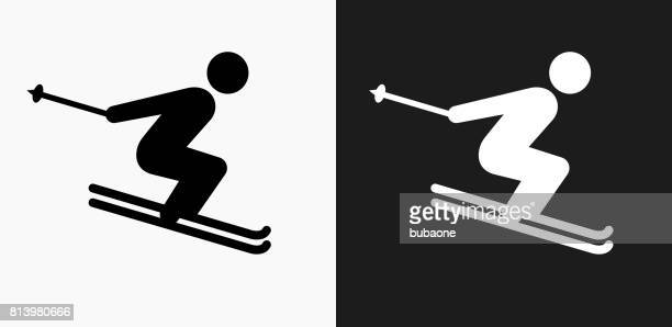 Skiing Icon on Black and White Vector Backgrounds