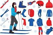 skiing icons set  with girl on skis