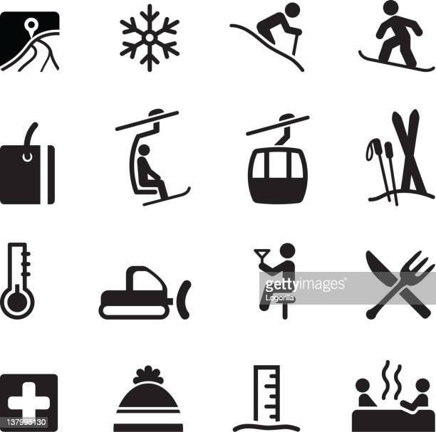 illustrations, cliparts, dessins animés et icônes de icônes de ski - ski alpin
