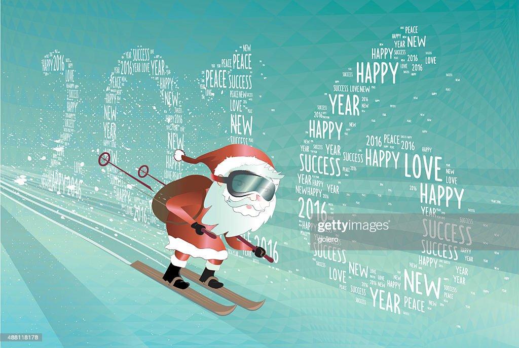 skiing santa claus jumping into new year 2016