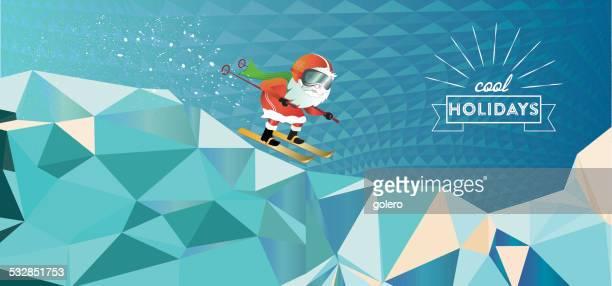 skiing santa on - adult stock illustrations, clip art, cartoons, & icons