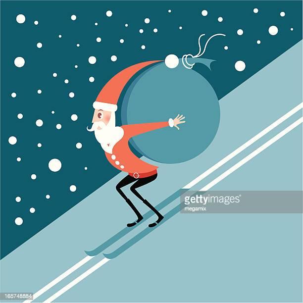 illustrations, cliparts, dessins animés et icônes de ski santa. - ski humour