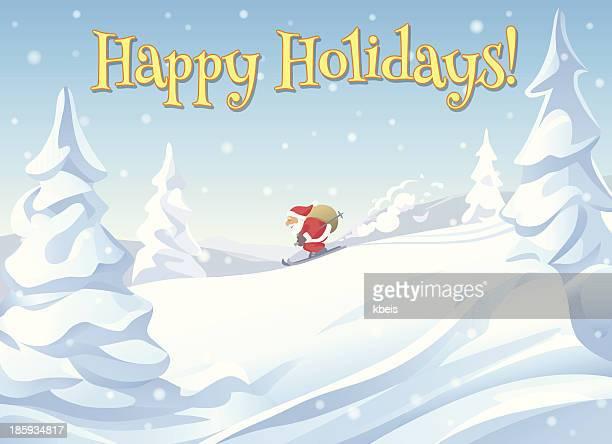 illustrations, cliparts, dessins animés et icônes de ski à santa - ski humour