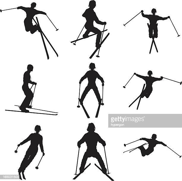 Skiing Silhouette Collection (vector+jpg)