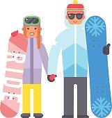 Skiing snowboard man and woman vector.