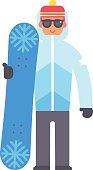 Skiing snowboard man vector.