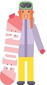 Skiing snowboard woman vector.