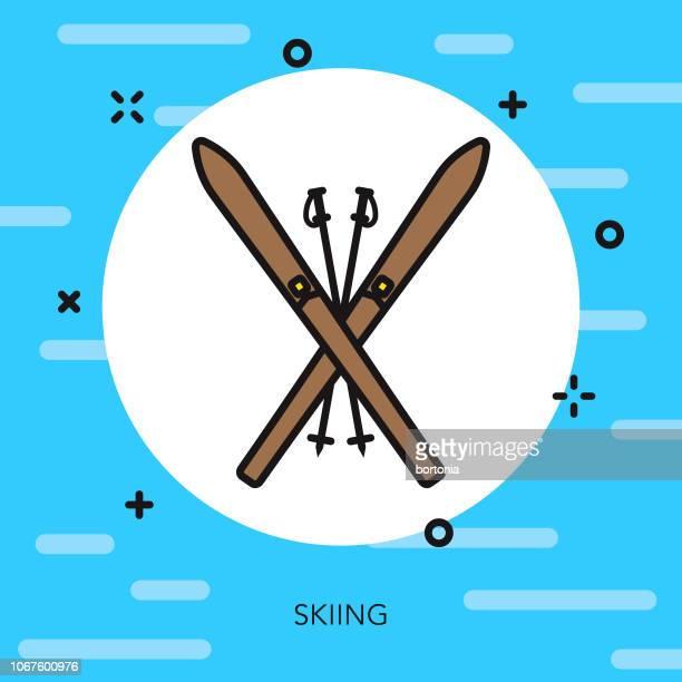 illustrations, cliparts, dessins animés et icônes de icône de sports ski thin line - ski alpin