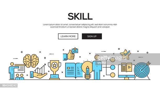 skill flat line web banner design - sports training stock illustrations
