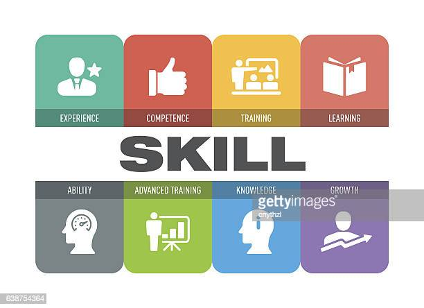 skill icon set - professional occupation stock illustrations