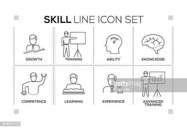 Skill keywords with monochrome line icons