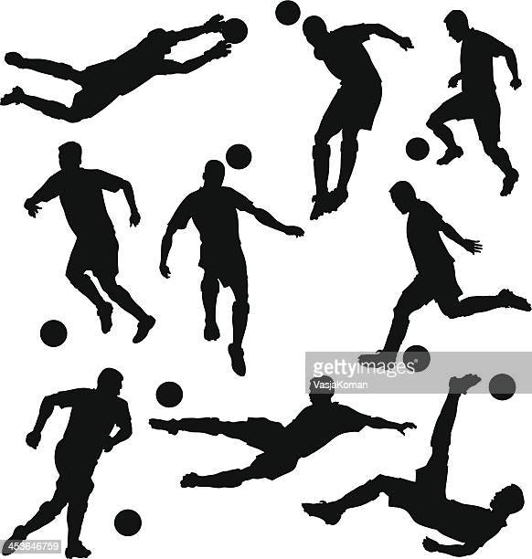 skilled soccer players silhouettes - midfielder soccer player stock illustrations
