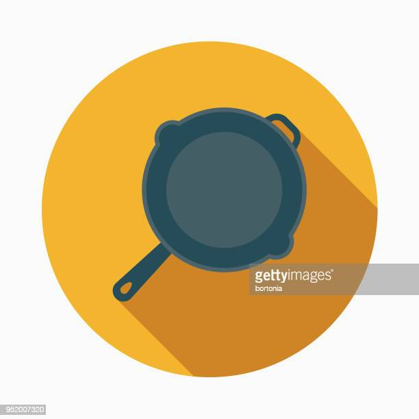 skillet flat design western icon - frying pan stock illustrations