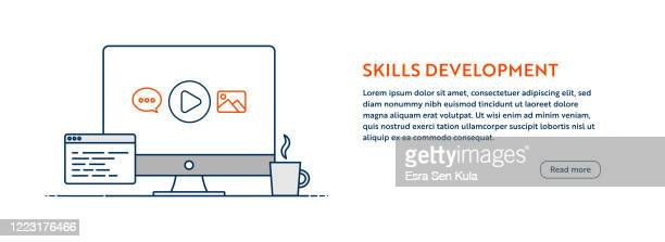 skills development concept with line computer illustration with editable stroke. - tutorial stock illustrations