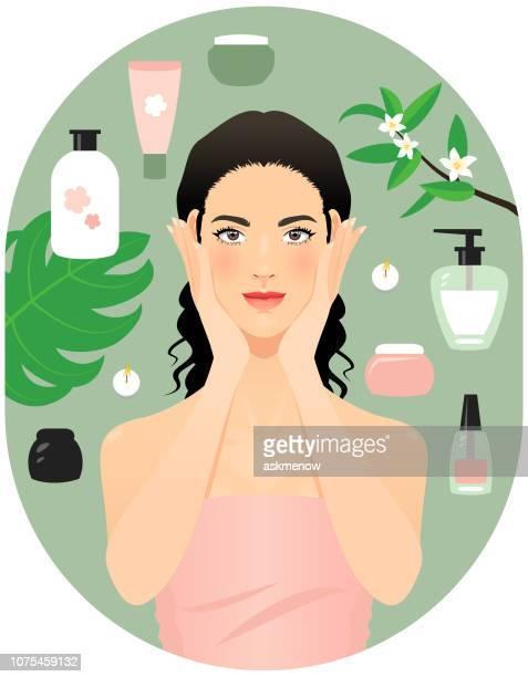 ilustrações de stock, clip art, desenhos animados e ícones de skin and body care products - cabelo preto