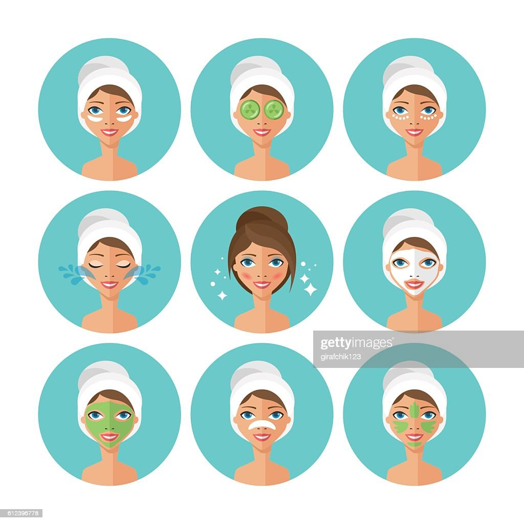 Skin care concept. Face mask and beauty treatment procedure set.
