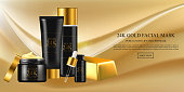 Skin care concept. Facial mask with gold 24k, golden water oil, skincare hydration moisturizer. Vector beauty concept.