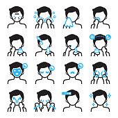 Skin care icon for men.Black and blue colors theme.Vector icon design set.