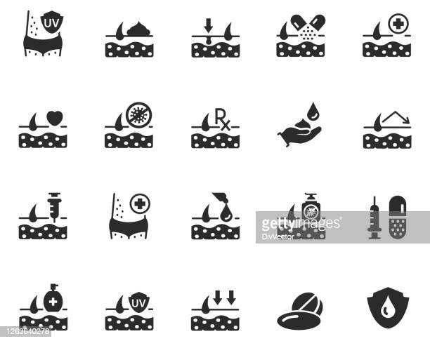 skin care icon set - uv protection stock illustrations