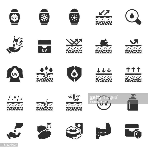 skin care icons - uv protection stock illustrations