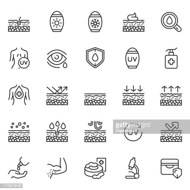 skin care line icon set - skin stock illustrations