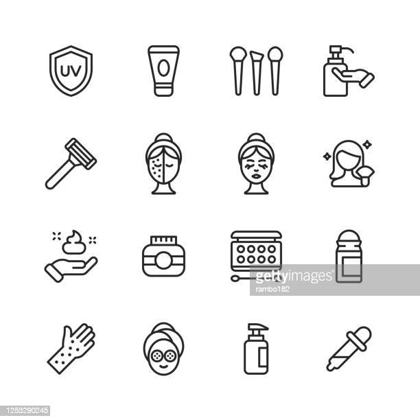 skin care line icons. editable stroke. pixel perfect. for mobile and web. contains such icons as skin care, spa, cosmetics, wellness, make up, hygiene, moisturizer, dermatology, lifting, bath, face mask, detox, peeling, surgery, wrinkle, soap, perfume. - dermatology stock illustrations