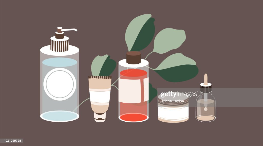 Skin care products. Set of hand-drawn liquid beauty products. Feminine cosmetics. and eucalyptus. Modern design for SPA saloon, webpage banner and greeting card. : stock illustration