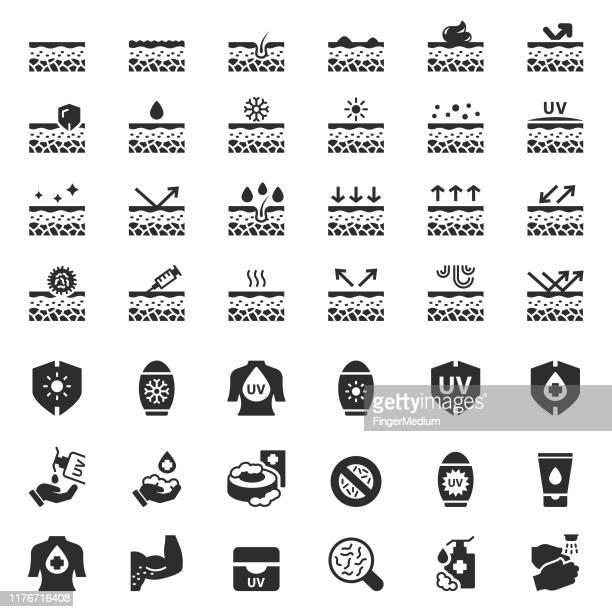 skin care vector icon set - skin stock illustrations
