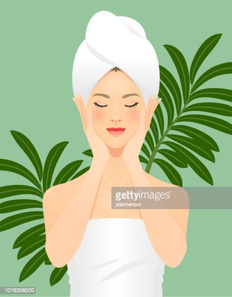 skin care - eyes closed stock illustrations, clip art, cartoons, & icons