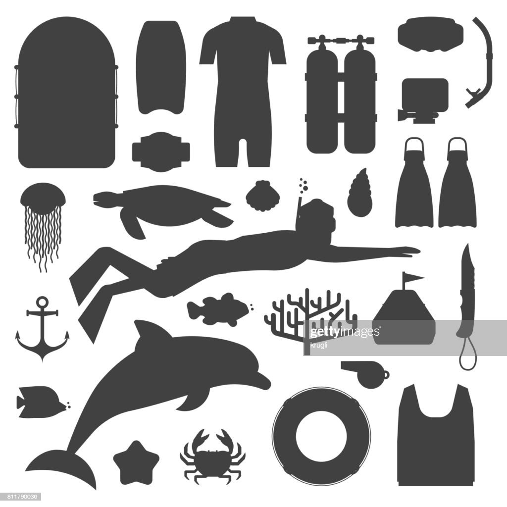 Skin Diving and Snorkeling Silhouette Set
