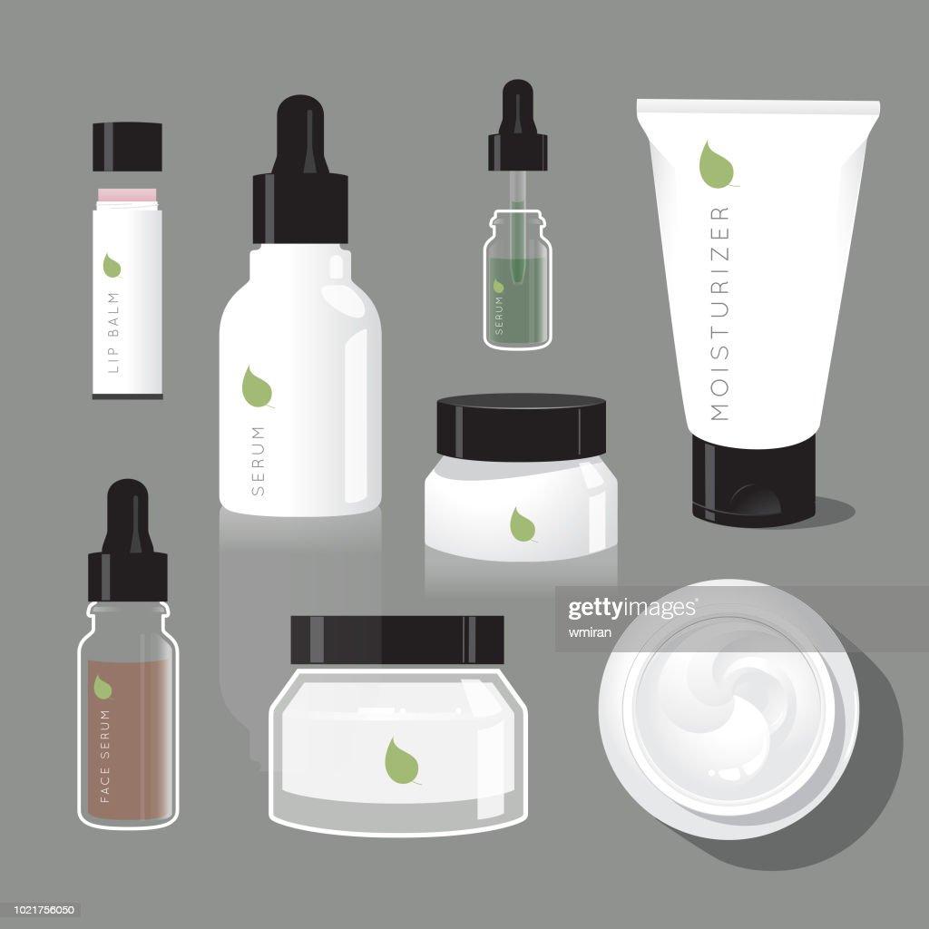 Skincare regimen beauty bottles : stock illustration