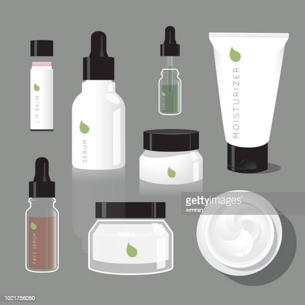 Skincare regimen beauty bottles