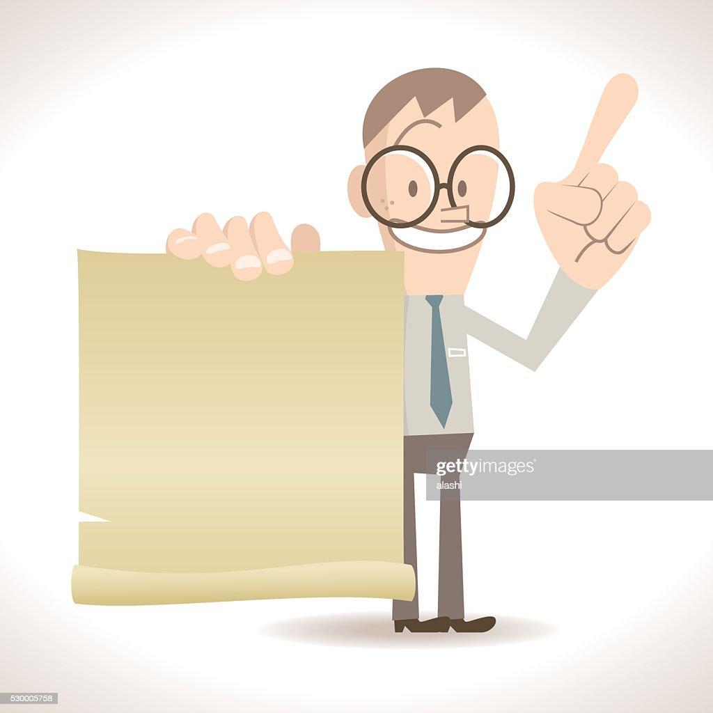 スキニー実業家話す、ブランク紙、指を指す指数 : ベクトルアート