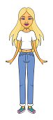 Skinny caucasian girl in white t-shirt and blue jeans