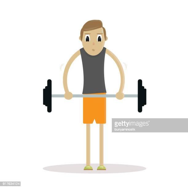 Magerer Mann im bodybuilding