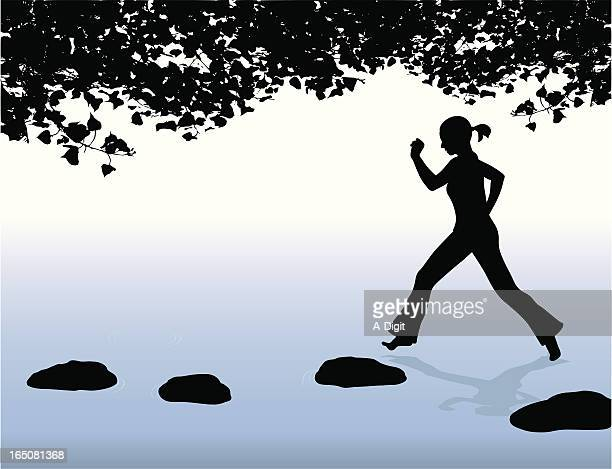 skipping stones vector silhouette - skipping stock illustrations, clip art, cartoons, & icons