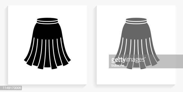 skirt black and white square icon - skirt stock illustrations