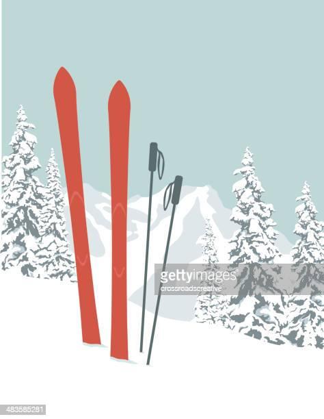 illustrations, cliparts, dessins animés et icônes de skis - ski alpin