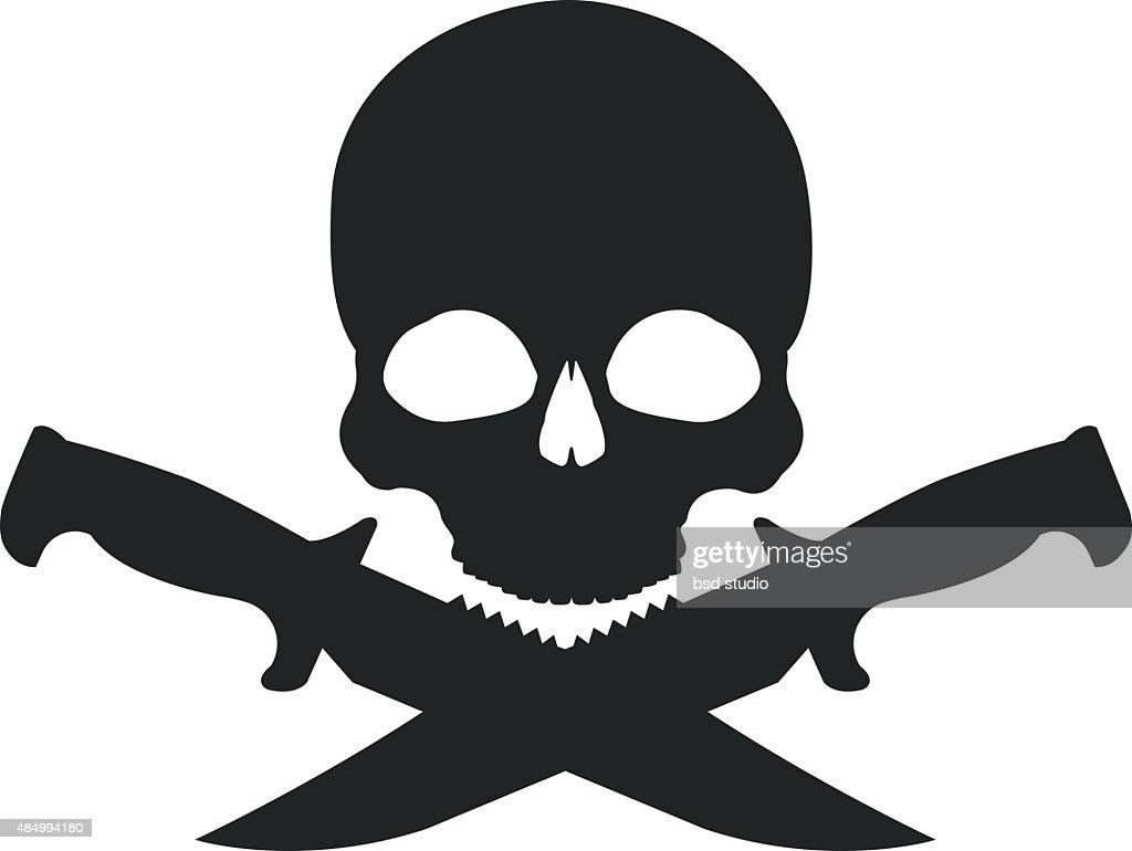 Skull and 2 crossed knifes black emblem